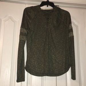 NWT* Hooded Lace up Long sleeve shirt, army green
